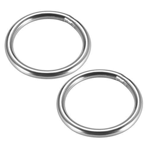 sourcing map Stainless Steel O Ring 40mm(1.57') Outer Diameter 4mm Thickness Strapping Welded Round Rings 2pcs