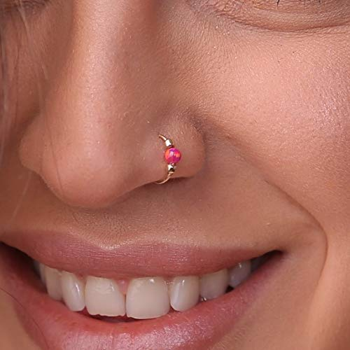 Red Selling rankings Opal Nose Ring Max 40% OFF - Filled hoop 14k Piercing Gold