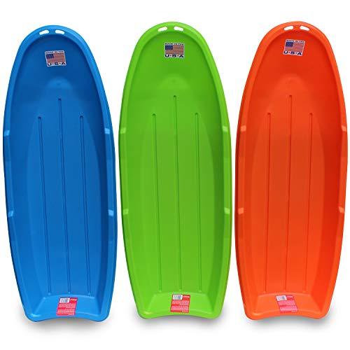 "Flexible Flyer Lightning Snow Sleds for Kids & Adults. Plastic Toboggan Sand Slider 48"" 3-Pack, blue/green/orange (648-3PK)"