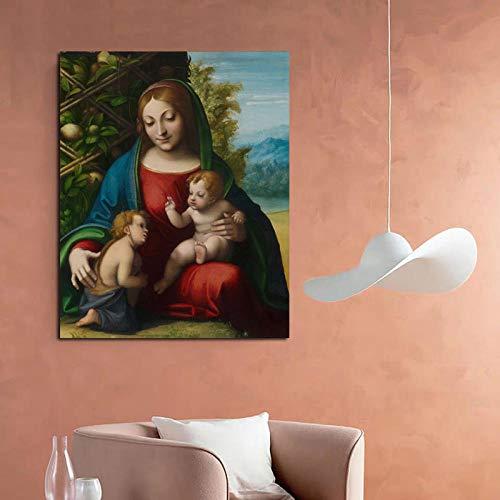 YCHND Correggio Opera d'Arte Figura Albero Quadro Wall Art Modulare Poster Stampe Famoso Dipinto su Tela per Soggiorno Home Modern Decorazioni 60x80cm Senza Cornice