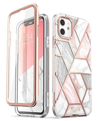 i-Blason Cosmo Series Case for iPhone 11 (2019 Release), Slim Full-Body Stylish Protective Case with Built-in Screen Protector, Marble, 6.1