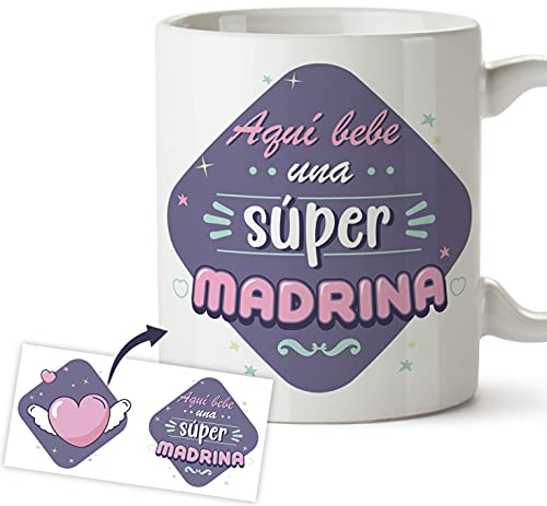 Taza Madrina - Regalo original taza desayuno - Aquí bebe una súper Madrina, Regalo bautizo