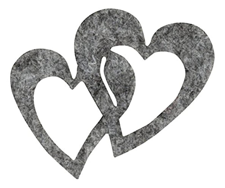 Petra's Craft News A- hedf 5705–87 Decoration 30 x 50 MM Double Heart, Grey Marl/Felt