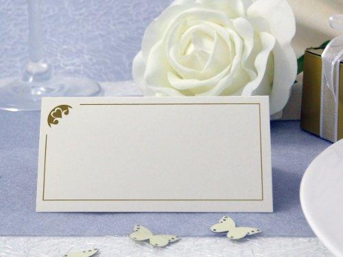 EinsSein 50x Tischkarten Hochzeit Herz Stück Gold Hochzeit, Tischkarten, Platzkarten, Namenskarten, Herz Schmetterling Stuhl Rosen Ringe