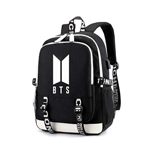 APHT BTS Rucksack USB aufladen Leuchtender Rucksack Schulrucksack mit USB-Ladeanschluss Bangtan boys Backpack for Teenager Girls