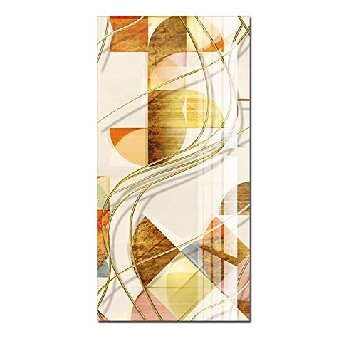 N / A Canvas Painting Wall Art Poster Modern Geometric Gold Line Combination Living Room Office Home Decoration Frameless 50X70CM