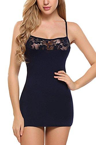 Corgy Women's Nylon Spandex Seamless Long Cami Slip Dress(Navy Blue,M)