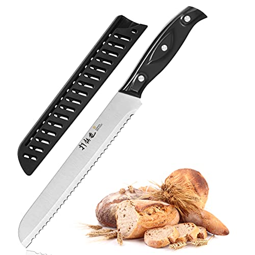 8-Inch Bread Knife, Serrated Bread Knife, Bread Cutter & Bread Slicers For Homemade Bread, Cake and Bagels, Ultra-Sharp German Stainless Steel-ABS Handle