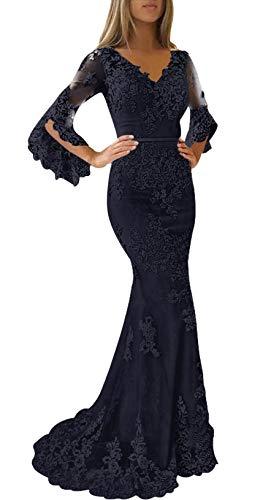 JAEDEN Ballkleider Lang Damen Hochzeitskleider Meerjungfrau Spitze Abendkleider Langarm mit Schleppe Marineblau EUR40