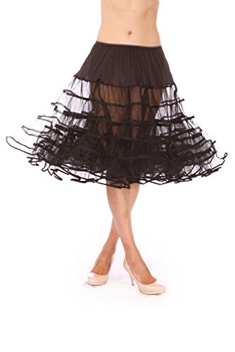 Malco Modes Knee Length Petticoat,Style 578 for Halloween Costume, Vintage Style, Party wear and Festive Look Crinoline Black