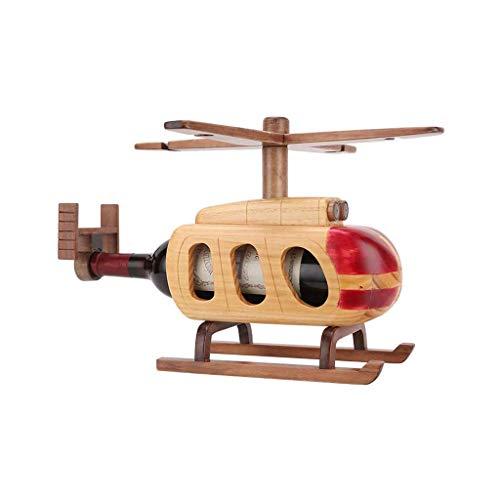Botelleros Botellero de escultura Almacenamiento de vino titular helicóptero Forma estante del vino Decoración de la cocina del restaurante de madera rojo vino rack encimera Gabinete Bodega Estante de