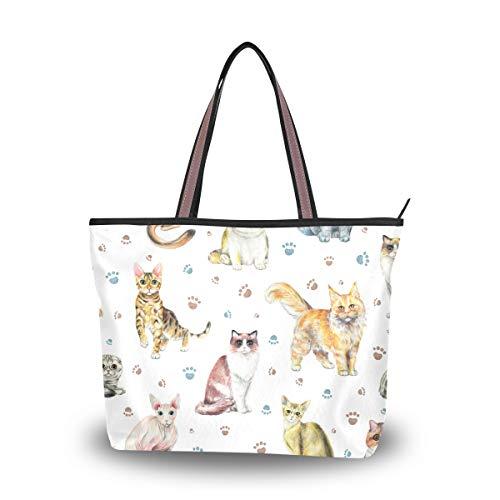MyDaily Damen Umhängetasche/Schultertasche mit Katzenmotiv, Aquarellfarben, multi - Größe: Medium