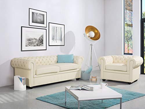 Beliani Klassisches Sofa im englischen Stil Echtleder Creme Chesterfield