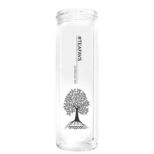 amapodo Ersatzglas ohne Sieb, ohne Deckel 400ml Ersatz Glas für Teeflasche Trinkflasche Glasflasche