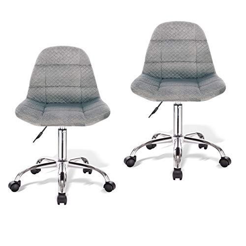 PROMECITY Bürostuhl 2er Set Schreibtischstuhl mit Atmungsaktivem Stoff, Höhenverstellbarer Drehstuhl Computer-Arbeitsstuhl mit Mittlerer Rückenlehne in Grau