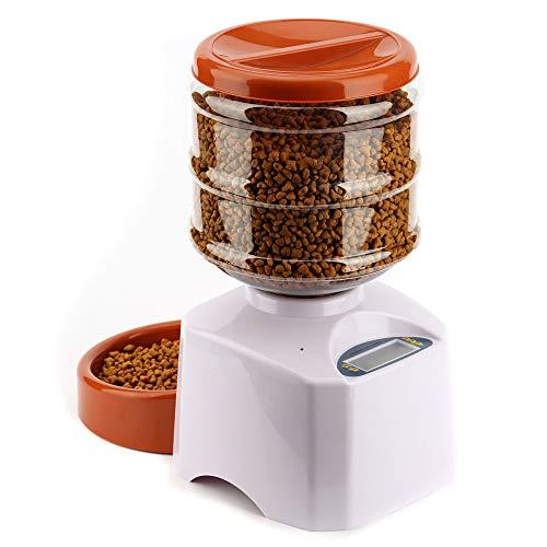 LJT Automatische Zufuhr für Haustiere 5.5L, Futterspender-Futterschüssel für Hunde und Katzen (Automatische Futterspender für Haustiere),White,39x18x38cm