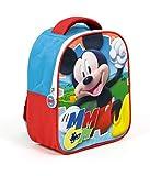 Superdiver Mochila infantil Mickey Mouse de Disney para el colegio y la guardería - 24cm - color azul y rojo - con asas acolchadas - Ideal para niños y niñas