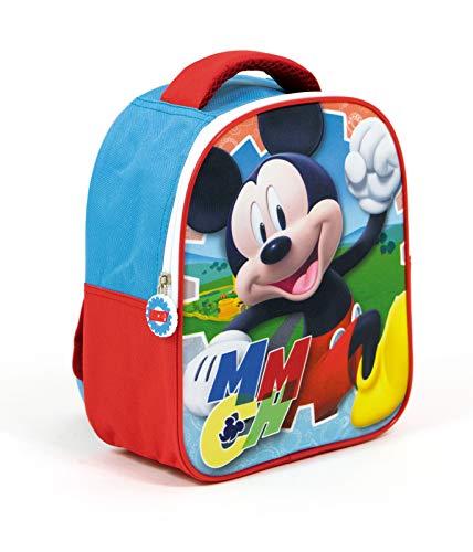 Superdiver Zaino per bambini Topolino Disney Mickey Mouse per la scuola e l'asilo - 24cm - colore blu e rosso - con maniglie imbottite - Ideale per bambini e ragazze