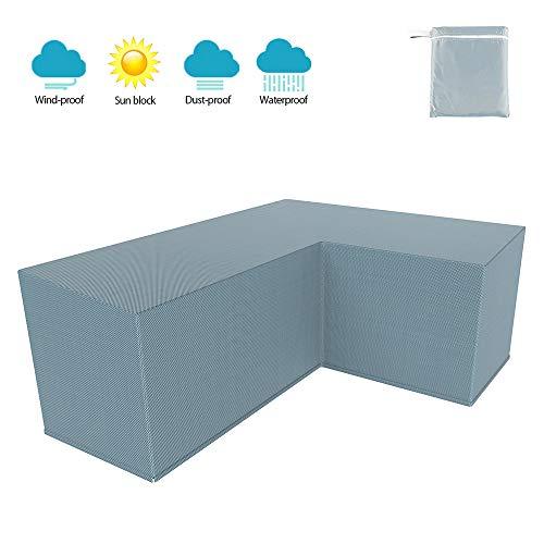 You's Auto Juego de Forma de L de Funda Protectora para El SofÁ De La Esquina Muebles para Mesa De Jardin Exterior Impermeable Anti-UV (Gris 270 * 270x90cm)