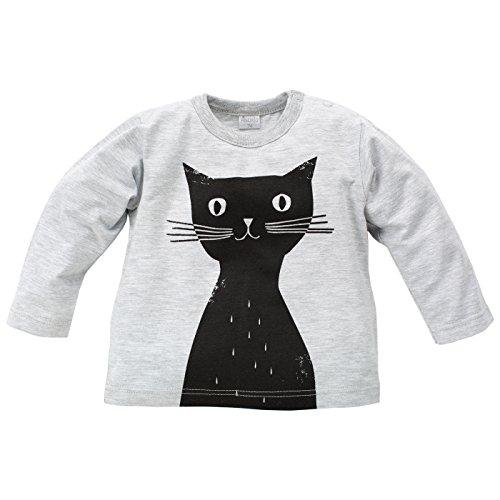 Pinokio - Happy Day - Baby meisje shirt met lange mouwen 100% katoen, zwart grijs met kat - shirt lange mouwen