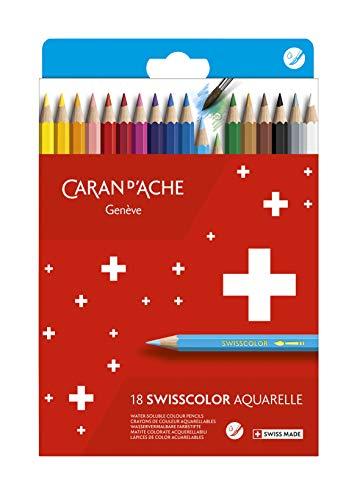 Caran d'Ache Swisscolor 1285.818 Lot de 18 crayons de couleur solubles dans l'eau dans une boîte