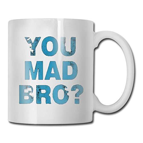N\A hite You Mad Bro Taza de té de café de cerámica Impresa Taza de té de Agua Bebidas Taza fría y Caliente