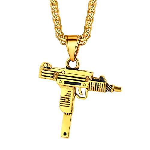 PROSTEEL 18k vergoldet Anhänger Halskette Mini Uzi Pistole Form mit 60cm/3mm Weizenkette Männer Jungen Armee Gewehr Design Modeschmuck Geschenk für Militärbegeisterte