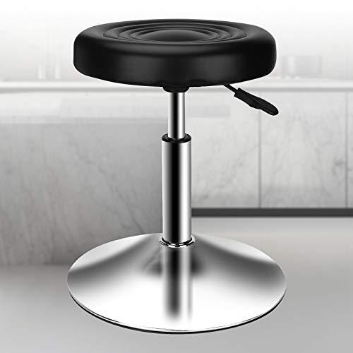 PenghaiYunfei, moderno sgabello da bar in pelle PU, regolabile in altezza, sgabello girevole per ufficio, casa, cucina, bar, colore: nero (Senza schienale)