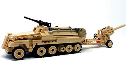 Modbrix Bausteine WW2 Schützenpanzerwagen mit 8,8 Flakgeschütz, inkl. 3 Minifiguren Soldaten