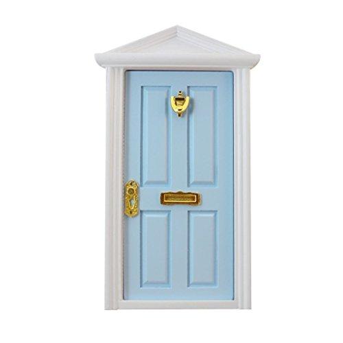 SHMGG - Escalera de Madera para Puerta de casa de muñecas en Miniatura, 4 Paneles, con Ranura Interior para Placa de matrícula, Color Azul