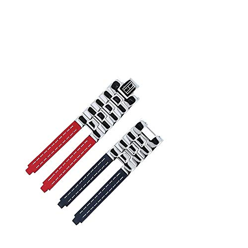 Tommy Hilfiger Stainless Steel Genuine Leather Watch Band 19 mm red/blue - Fits Model 1780068 - Leather Bracelet with Stainless Steel Buckle - Exclusive MARBURGER Original Spare Parts
