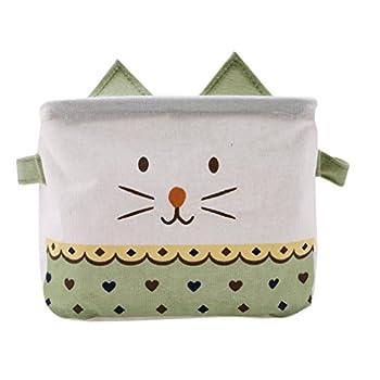 Iumer Storage Basket Cartoon Cat Cotton Linen Baby Toy Storage Laundry Basket Stylish Storage Bag Laundry Organizer,Green