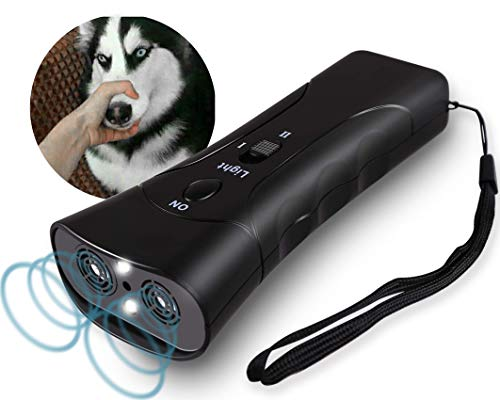 Ultrasonic Anti Bark Device for Dogs Training Handheld No Barking Sonic Stop Bark Control Deterrent 3 in 1 Stray Dog Chaser with LED Lights for Small Medium Large Dogs