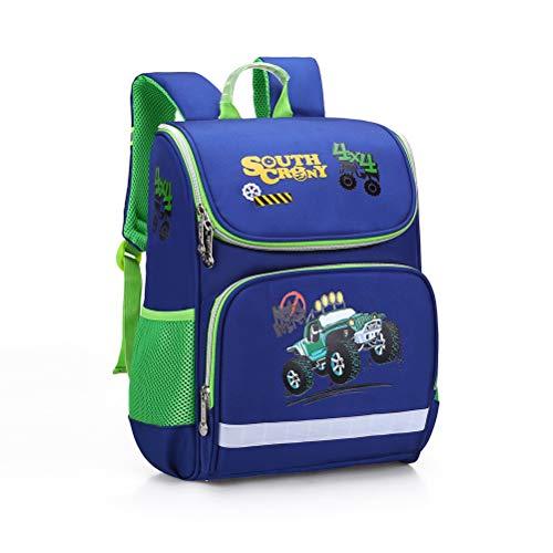 Rucksack für Jungen, süßer Cartoon-Go-Kart-Rucksack, Rückenschutz, leicht, wasserdicht, große Kapazität, dunkelblau (Blau) - G35803F4D17U2V91B