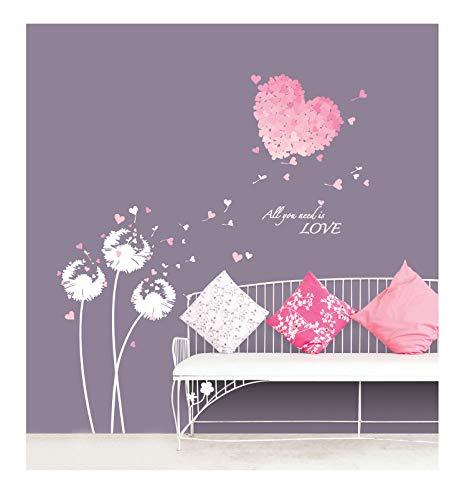 Ambiance Sticker Mural Coeur en Fleur Rose