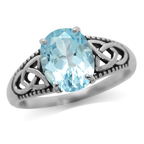 Silvershake 3.03ct. Genuine Blue Topaz 925 Sterling Silver Triquetra Celtic Knot Ring Size 7