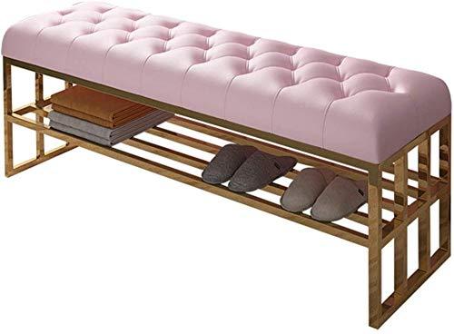 MYYINGELE Schuhregal Bank Luxus Eingang Edelstahl Schuh WickelhockerLedersofa und Hocker im WohnzimmerModernes Schlafzimmer Bett Ende