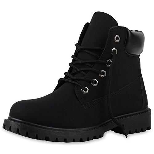 SCARPE VITA Modische Damen Outdoor Stiefeletten Worker Boots Profilsohle 151748 Schwarz Schwarz 38