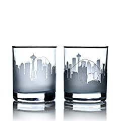 SAND ETCHED WHISKEY TUMBLER: Each Greenline Goods rocks whisky glass was etched by a skilled artisan and features an iconic big city skyline. Flip the glass over to see the city name etched along the bottom! 10 OZ WITH A HEAVY BASE: Premium quality g...