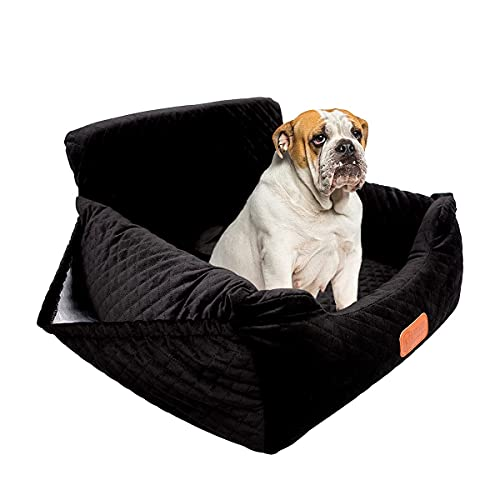 Dog Car Seat Pet Booster Seat with Pocket for Small and Medium Dogs Under 35 lbs Travel Safety,Non-Slip Base and Thickened Sponge Pad, can be Disassembled and Easy to Clean(Black)