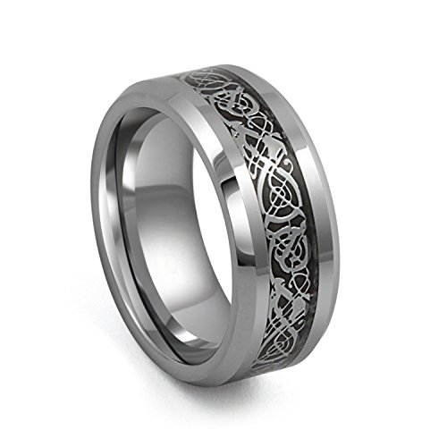 8mm Silver Black Tungsten Carbide Ring Irish Celtic Knot Dragon Comfort Fit High Polished Wedding Band (13)