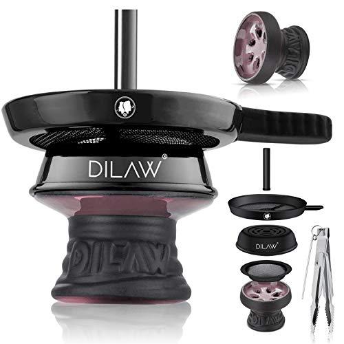 DILAW® Shisha Steinkopf Set Kaminkopf Small Tabaksieb Kohlezange Kaminaufsatz Tabak Kopf (Pink)