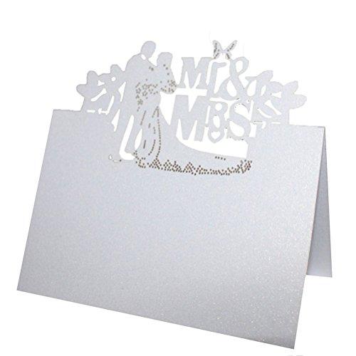 ROSENICE 50 Stück Tischkarten MR MRS Brautpaar Hochzeit Dekoration Tischdekoration Namenskarten Platzkarten
