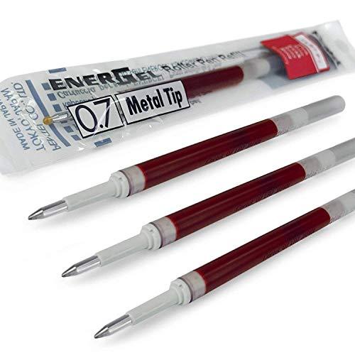 4X Pentel EnerGel 0,7mm recharge Pointe en métal LR7–Compatible avec EnerGel Xm, BL77/BL57/Bl37–Rouge