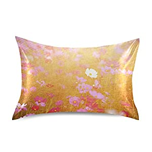 Silk Flower Arrangements ATTX Cosmos Flower Picture Pillowcase with Envelope Closure for Hair and Skin, Soft Breathable Smooth Both Sided Cooling Silk Pillow Cover(Queen 20''×30'',1Pcs)