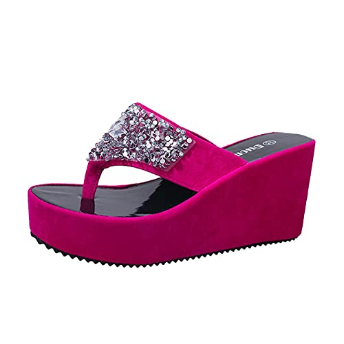 SZBLYY Sandalias Dedo Womens Flip Flops Verano Zapatillas de Mujer Rhinestone Wedges Fashion Clip Toe Beach Zapato de la Playa Fondo Grueso Abierto Sandalias de Punta