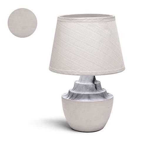 Aigostar - Lámpara de cerámica de mesa, cuerpo color tostado semi ovalado, pantalla de tela color...