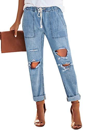 luvamia Women's Casual Ripped Distressed Jeans Elastic Waist Loose Slim Boyfriend Jeans Denim Pants Light Blue Size X-Large