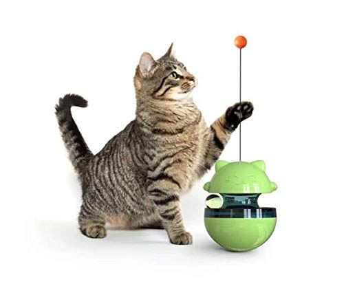 HFBBY Best Interactive Cat Toys Tumbler Leaking Food Ball with Teasing Wand,Slow Food Feeder Funny Cat Stick Toy for Cats Kitten Exercise Interactive Game .Size: 3.9 x 4.9 inches