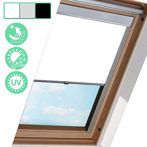 Hengda verduisteringsgordijn S06 100% verduisterend ondoorzichtig verduisterend verduisteringszilver aluminium frame voor VELUX dakvenster thermische jaloezie (wit, 97,3 * 94 cm)